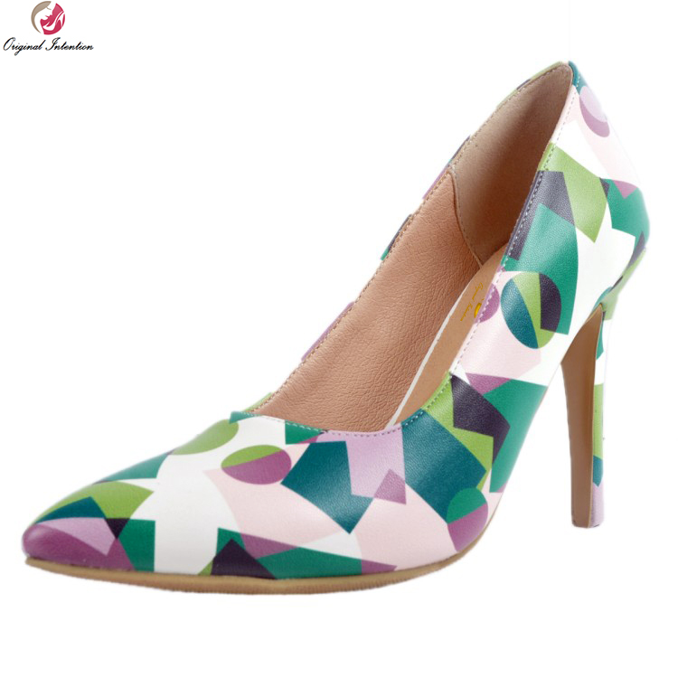 Original Intention New Fashion Women Pumps Elegant Pointed Toe Thin High Heel Pumps Red Green Grey Shoes Woman Plus US Size 4-15 egonery women fashion pumps for summer pointed toe low heel shoes hollow pumps out side footwear elegant shoes woman plus size