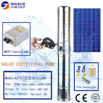 (MODEL (4JTSC15/70-D72/1300) JINTOP 4 INCHE SOLAR PUMP DC 1300W 72V Impeller solar water pump with oil cooling motor 3 years war фото