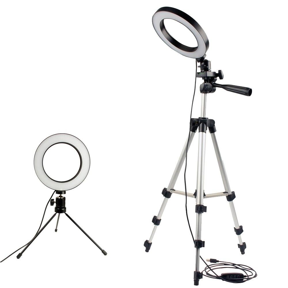 Pode ser escurecido LED Lâmpada Anular Estúdio Foto De Anel de Luz Da Câmera de Vídeo Do Telefone Móvel Tripé Selfie Vara Para Xiaomi iphone Canon Nikon