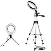 Regulable LED estudio Cámara anillo luz foto teléfono móvil vídeo lámpara anular trípode Selfie Stick para iphone Canon Nikon Xiaomi