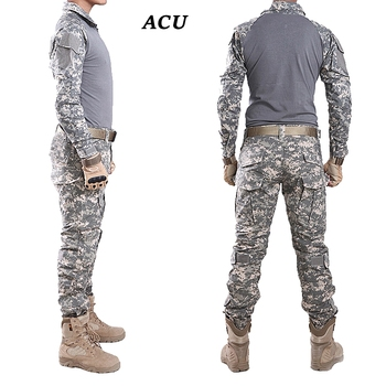 Tactical Camouflage Uniform Multicam Combat Shirt Men Outdoor Military Hunting Suit Set US Army TShirt + Pants Knee & Elbow Pads