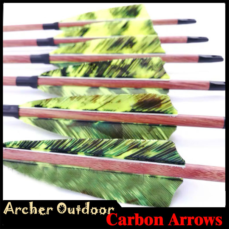 12pcs Wood Skin Pure Carbon Arrows Spine 400 500 600 ID 6 2mm 32 4inch Turkey