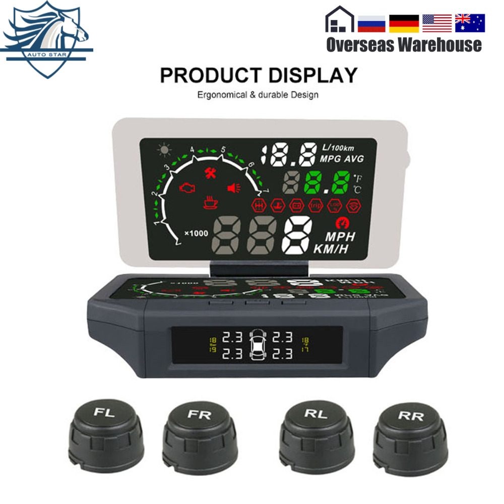 AUTOOL X360 Car hud car speed projector Head Up Display AUTO HUD Holder Mount with TPMS Monitor KMH/MPH LCD color display