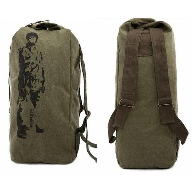 Novo 2017 mochila de lona de Alta capacidade saco ocasional Balde Saco Multifuncional Mochila de Lona Militar Do Exército mochila Duffle Bag