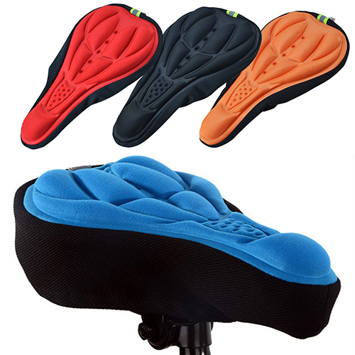 Silicone Cycling Bicycle Bike Saddle Breathable Gel Cushion Soft Pad Seat Cover 8P9Q