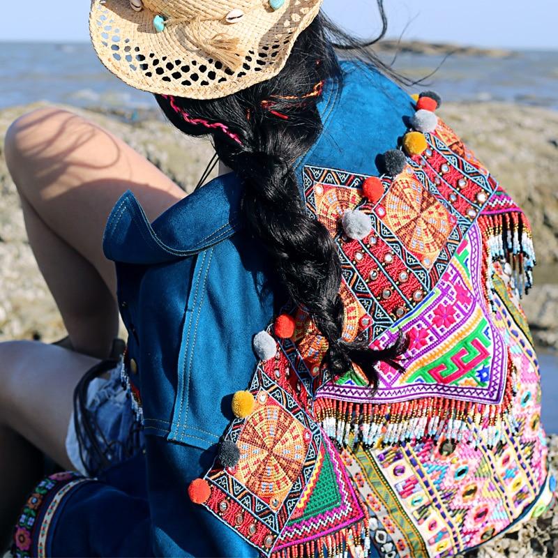 Style Femme Court Bohème Veste En Daim Automne Main Brodées Nouveauté Manteau Fait Femmes Perles Bleu Outwear Mx007 Épaissir 2016 zpMGqSUV