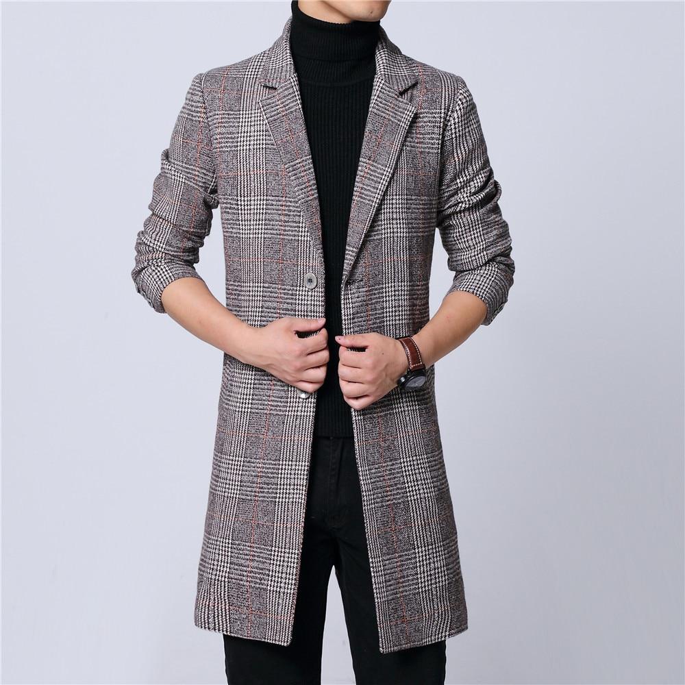 Manteau long homme hiver en laine melton pardessus plaid gris deux boutons doublure complète à manches longues poche à M-6XL 18NovW4 livraison directe