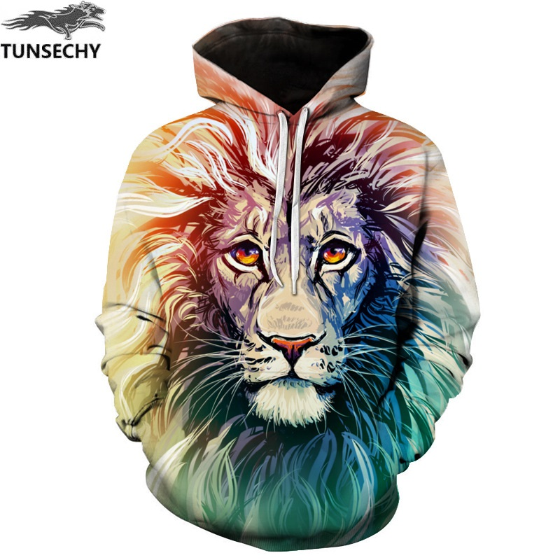 TUNSECHY New Fashion Men/Women 3D Sweatshirts Print Flowers Lion Hoodies Autumn Winter Hooded Pullovers Tops Free transportation