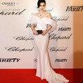 Fan Bingbing Mesmo Parágrafo Design de Moda Branca Organza Vestido de Noite Sexy Strapless Babados Manga Curta Celebrity Dress