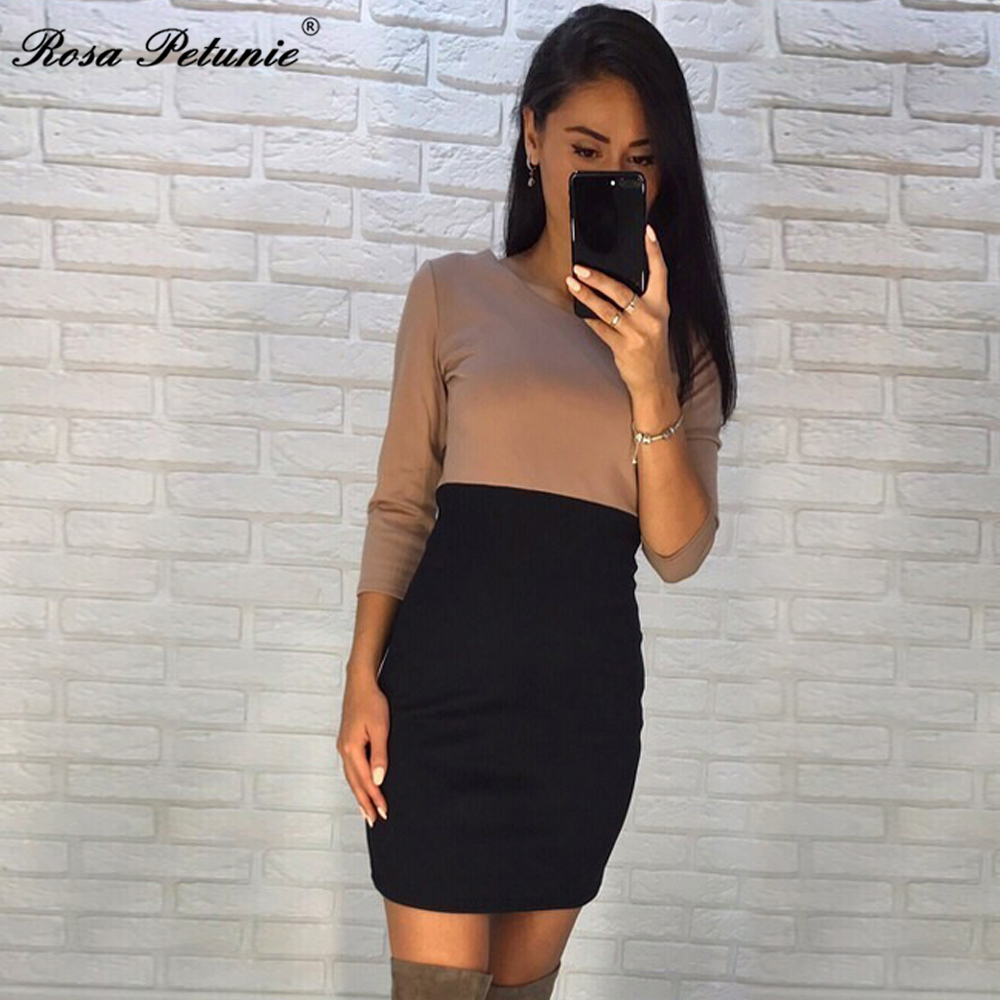 Rose Petunie 2017 Autumn Fashion Kaki And Black Patchwork Dresses Sheath 3 4 Sleeve O Neck