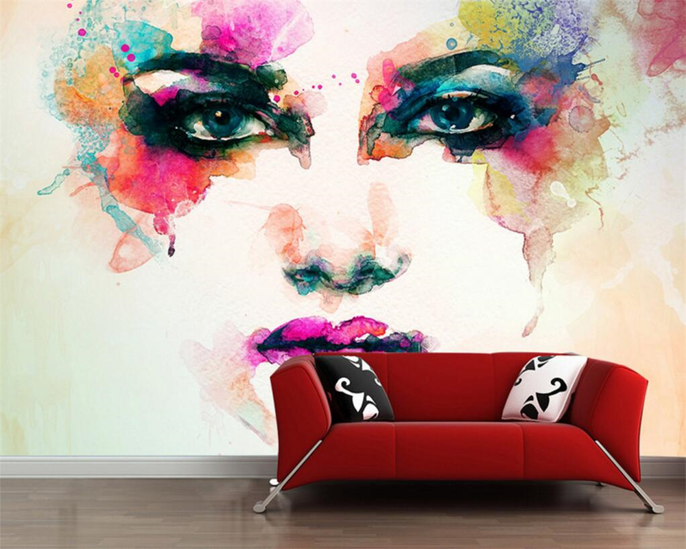 Beibehang 3D photo wallpaper watercolor beauty face murals bedroom living room sofa TV background wallpaper 3 d papel de parede