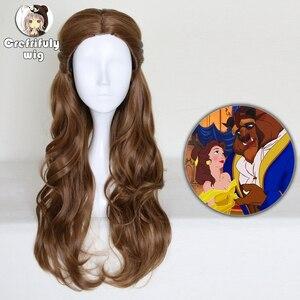 Image 1 - Perruque synthétique style princesse et la bête, coiffure synthétique longue ondulée brune, perruque princesse et la bête, déguisement pour jeu de rôle à la fête dhalloween