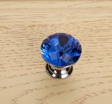 10Pcs Lot 25mm Crystal Glass Door Knobs Handle Blue Drawer Kitchen Screw Set
