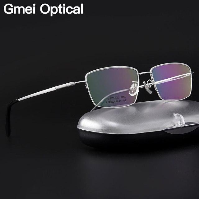 Gmei Optical Ultraleicht 100% Reinem Titan Halb Rand Brille Rahmen Für Business Männer Myopie Lesen Rezept Brille LR8961