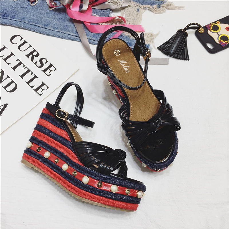 Korean Hot Butterfly-knot High Heel Wedge Crystal Sandals With River Mix-colors Platform Quality Comfortable Summer Women Shoes hee grand soft transparent jelly women sandals flat with crystal colorful rhinestones butterfly knot beach shoes xwz3446