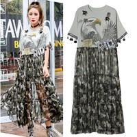 Unique Summer Long Dress Women Camouflage Print Sheer Dresses Flowers Appliques Eagle Sequins Dress Vestidos De Festa Robe NS631