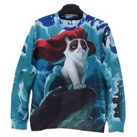Newest Style Free Shipping Men/Women 3d Sweatshirt Funny Print Sea Side Animal Cat With Red Hair Hoodies