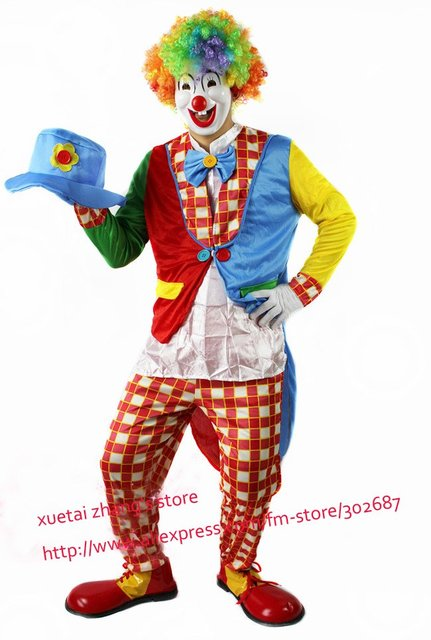 Plaid Design The Clown Costume Halloween Carnival Adult Size Free Shipping 1 set
