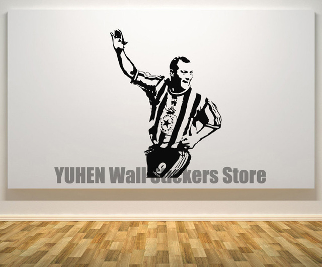 Alan shearer newcastle wall sticker soccer star artist art wall decoration bedroom logo wall art decals