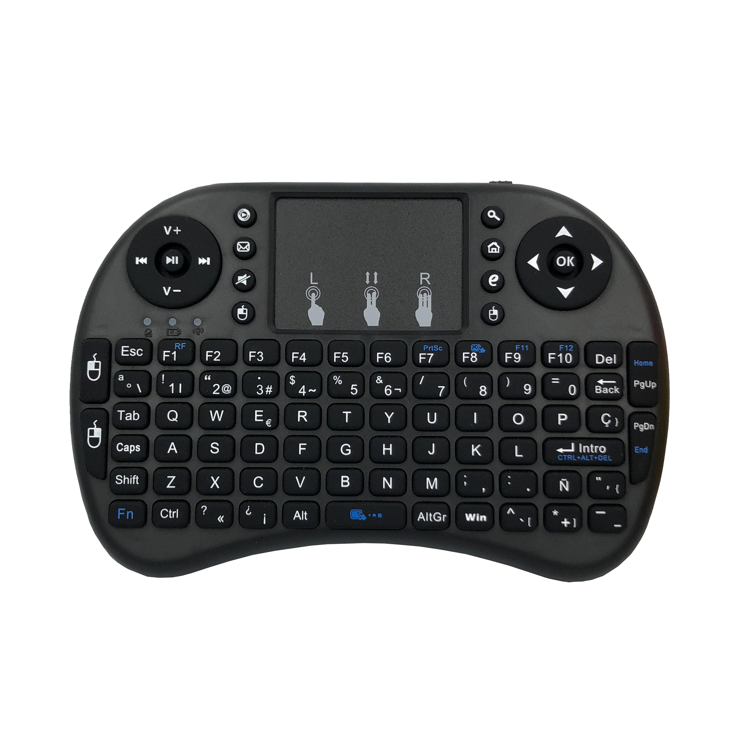 Image 5 - Spanish i8 mini keyboard 3 color backlit i8+ lithium battery backlight Air Mouse Remote Control Touchpad Handheld TV BOX Laptop-in Keyboards from Computer & Office