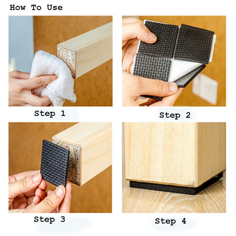 12 pcs Square Multifunction Black Self Adhesive Furniture Leg Table Sofa Feet Floor Non-slip Mat Sticky Pad Protector 1Set