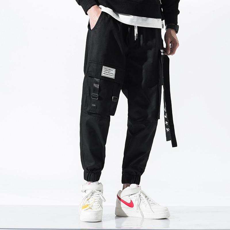 2019 Harajuku Cargo Pants Men Cotton Hip Hop Streetwear Pants Male Letter Printed Autumn Winter Ribbons Trousers Overalls