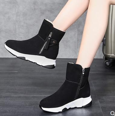 New Fashion Women Boots Snow Boots Sneakers Plush High Top Velvet Cotton Shoes Warm Lace-up Non-slip boots 37
