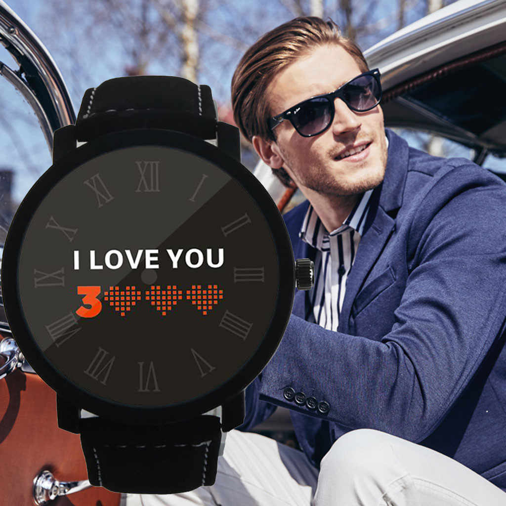 I LOVE YOU 3000 Fashion Watches Men Relogio Masculino Quartz Wristwatches Simple Leather Belt Luxury Fashion Reloj Hombre Watch