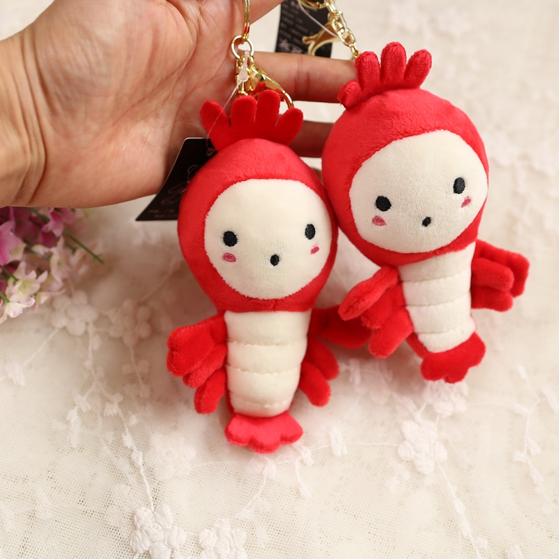 Wholesale 10pcs 14cm Cartoon Crayfish Lobster Plush Little Bag Key Chain Backpack Pendant High Quality Stuffed Toy Girl Gift