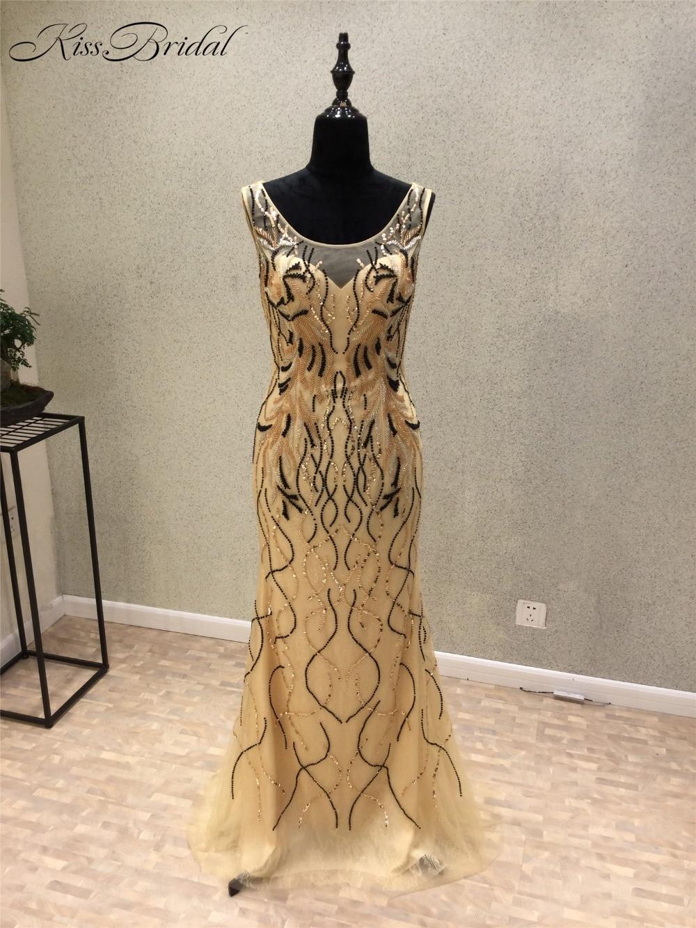 New Amazing 2018 Prom Dresses Scoop Sleeveless Vestido de festa Floor Length Beaded Tulle Mermaid Long Evening Dress