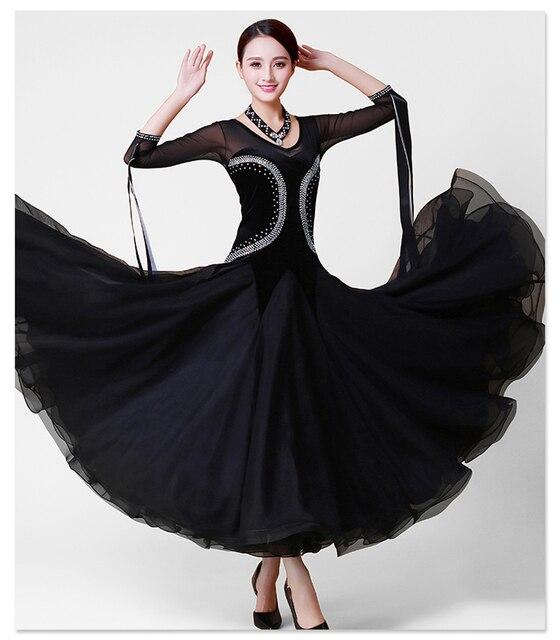 436537d625 Estándar Salón danza vestido mujeres negro elegante vals competencia traje  de baile de alta calidad Tango