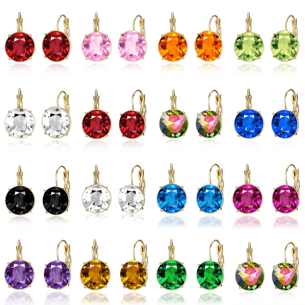 3 Sizes Female Gold Color Metal Stud Earrings Multicolor Round Crystal Earrings For Women Girl Fashion Wedding Jewelry Gifts