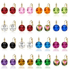 3 Sizes Female Gold Color Metal Stud Earrings Multicolor Round Crystal For Women Girl Fashion Wedding Jewelry Gifts