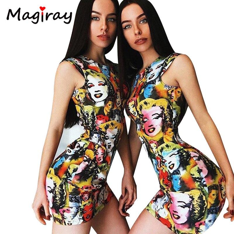 Magiray Marilyn Monroe Print Y Mini Dress Women 2018 Summer Bodycon Cup Sleeve Punk Club Party Vestidos Robe Femme C269 In Dresses From S