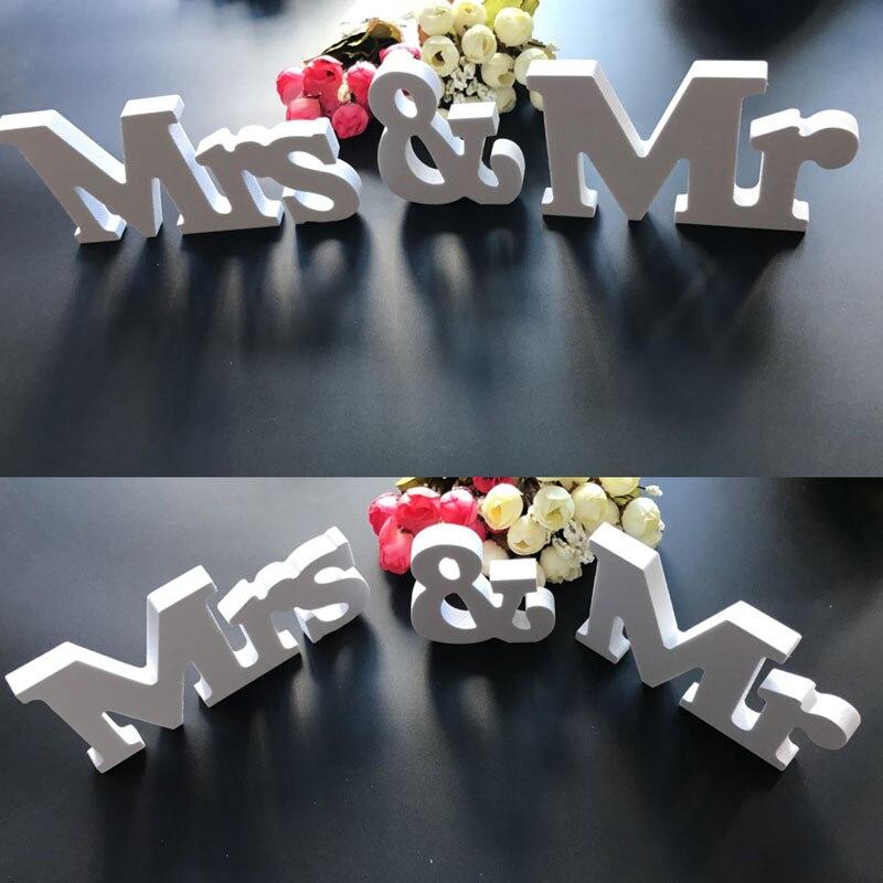 Милая белые буквы знак Свадебные украшения Mr & Mrs стол Декор J2Y