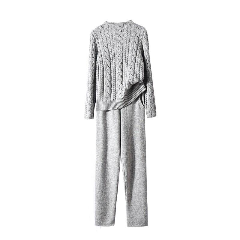 Tissé Mince Nouvelle Mode pièce Pantalon Deux De Épaississement Femme Fil Tricot Costume Pleine Hiver Torsion Bourgogne gris 2 Chandail Pièce Laine Cachemire 2018 hdCQsrt