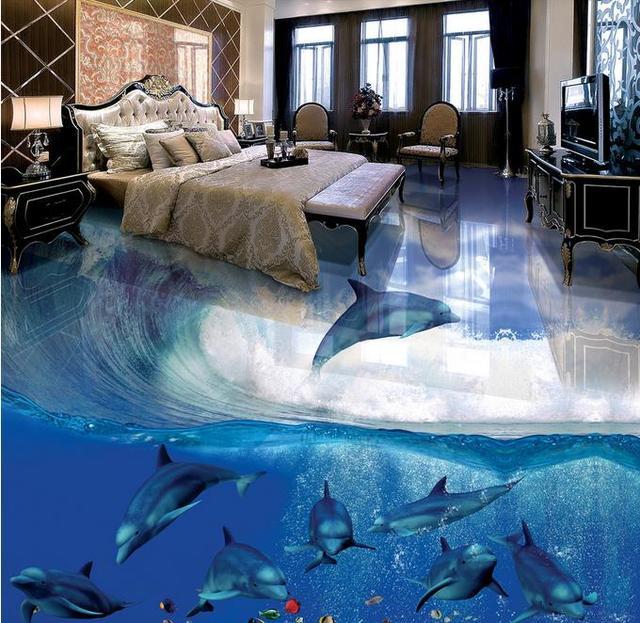 3d Flooring Dolphin Mural Wallpaper Floor Murals Kitchen Pvc Wall Paper Vinyl Room