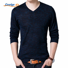 Covrlge Sweater Male Autumn New Long Sleeve Mens Clothing Pullover Men V Neck Wool Brand Slimfit Knitted Polo Shirt MZL003