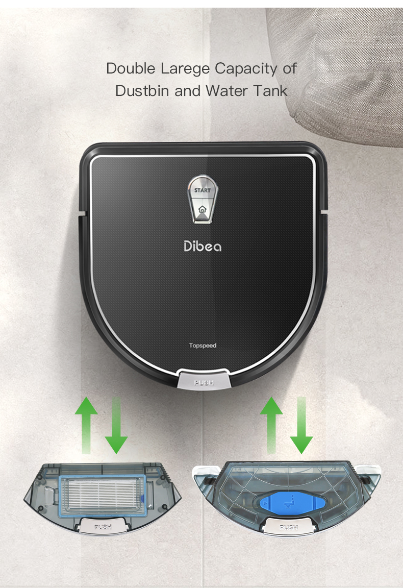 Dibea D960 Robot Vacuum Cleaner House Carpet Floor Anti Collision Anti Fall, Self Charge, Remote Control, Auto Clean