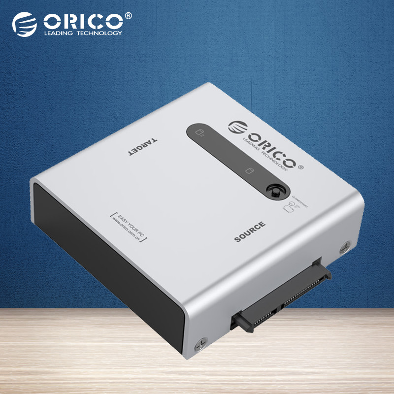 ORICO Aluminum 2 bay 2.5&3.5 inch SATA Hard Drive Duplicator Adapter with USB3.0 cable - Silver