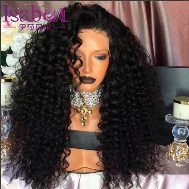 Isabel 9A Solto Onda Profunda Perucas de Cabelo Humano Sem Cola Cheia Do Laço Perucas de Cabelo humano Para As Mulheres Negras Cabelo Humano Dianteira do Laço Cacheados perucas