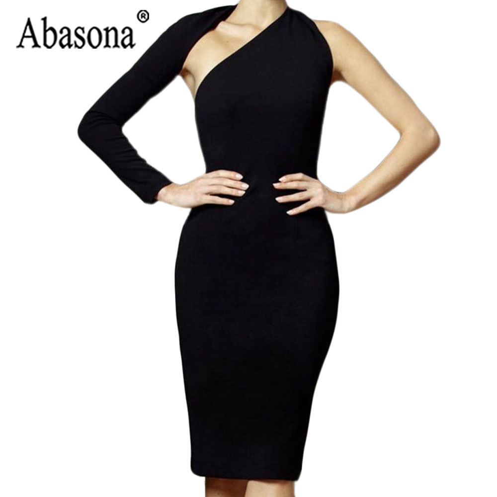 Abasona Women Fashion Sexy One Shoulder Black Dress Backless Hollow Out Asymmetrical Slim Knee Length Dresses Women Party Dress