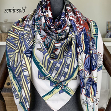 лучшая цена Luxury Brand Women Silk Scarf Horse Print Shawls Large Bufandas Echarpe Polyester Scarves For Women Femme Sjaals Hijab 130*130cm