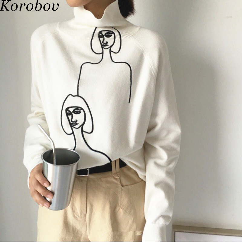 Korobov Korean Women 2020 New Sweaters Cartoon Embroidery Female Jumper Long Sleeve Pullover Turtleneck Mujer Sueter 76271