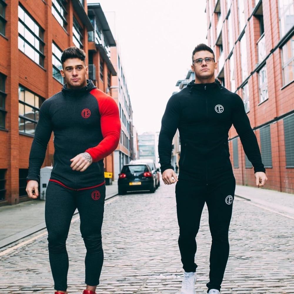 2018 Winter Sport Suits Men Hoodies Sets M-2XL Big Size Mens Gym Sportswear Running Jogging Suit Male Tracksuit