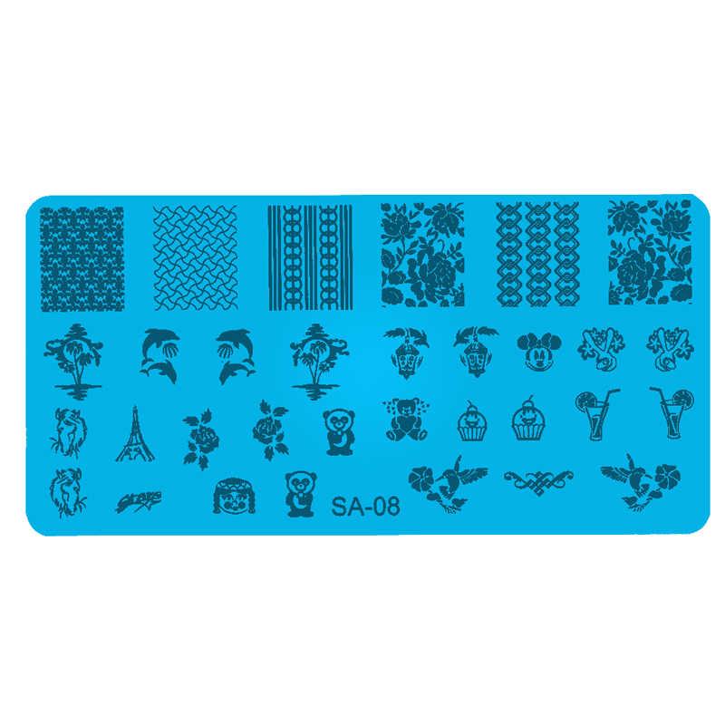 ภาพ DIY 6 ซม.* 12 ซม.Series ปั๊มแฟชั่นเล็บแม่แบบ Stencils เล็บแสตมป์ Sea & PANDA รูปแบบแผ่น