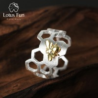 Lotus Fun Silver Rings for Women Adjustable 925 Sterling Silver Ring Minimalistic Honeycomb Bee Fine Jewelry Dropshipping