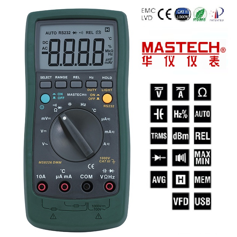 1pcs Mastech MS8226 DMM 3 3/4 Digital Multimeter Auto Range Temperature Multimeter Backlight 100% original fluke 15b f15b auto range digital multimeter meter dmm