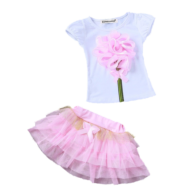 755076b1a75 2 8 yrs New 2018 Summer Baby Girls Clothes Kids Suit 3D flower t ...