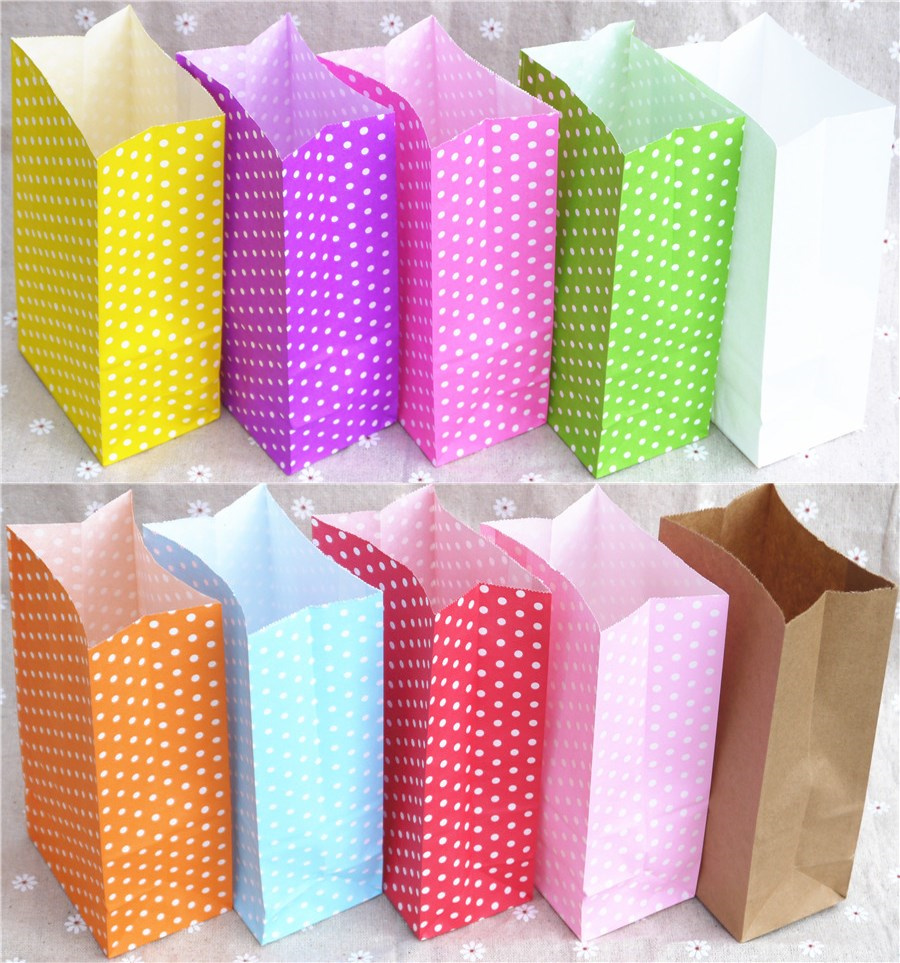 New Paper Bag Mini Stand Up Colorful Polka Dot  Bags 18x9x6cm Favor  Open Top Gift Packing Paper Treat Gift Bag Wholesale(China)